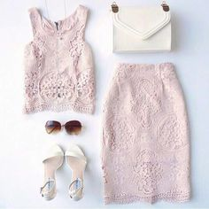 Blush pink lace two piece dress Fashion Mode, Look Fashion, Fashion Outfits, Womens Fashion, Looks Street Style, Vestidos Vintage, Two Piece Dress, Passion For Fashion, Spring Summer Fashion