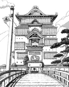 Architectural - Urban Sketches and Cityscape Drawings Cityscape Drawing, City Drawing, Architecture Concept Drawings, Japanese Architecture, Arte 8 Bits, Studio Ghibli Spirited Away, Studio Ghibli Art, Japon Illustration, Perspective Art