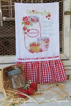 """New for Spring 2014"" Flour Sack Kitchen Towel ""Strawberry Jam"" Recipe, Mason Jars, Berry Basket, ~ Red gingham Ruffle w/White Cotton Twill Trim   by SweetMagnoliasFarm, $18.75  Sweet Magnolias Farm Design ©"