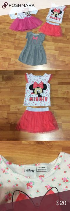 Set of 3 Minnie Mouse dresses The long sleeve dress has some stains at the end of sleeve, the shirt/skirt set was only worn a couple of times, the grey dress is thicker material but still great for end of summer/early fall!!! Smoke free home!!!! Disney Dresses Casual