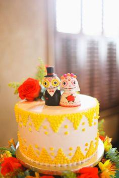 Dia de los Muertos cake // photo by Adrienne Gunde, cake by Merengue Bakery // http://ruffledblog.com/mexican-fiesta-wedding/