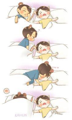 """kai sehun fanart cr.@gosekki"" i don't ship it but this is too cute"