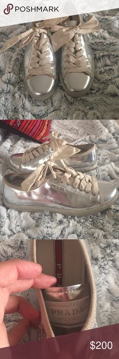 PRADA ribbon lace tennis shoes only worn like 5x they are in EXCELLENT condition! Ribbon lace metallic silver size 35eu Prada Shoes