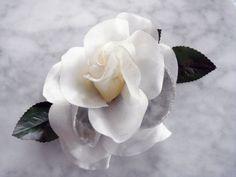 """Vintage 1950's millinery flower 4"""" ivory taffeta blue velvet rose with 6 leaves"""