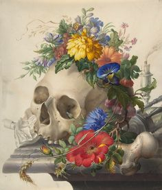 unknown artist #skull #flowers
