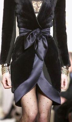 Velvet dress by Balenciaga - I like the polka dot nylons paired with the dress.