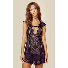 For Love and Lemons Emerie Sleeveless Dress ($260) ❤ liked on Polyvore featuring dresses, lace dress, mini dress, black, open back dresses, lace ruffle dress, embroidered lace dress, lace cut out dress and flutter-sleeve dress