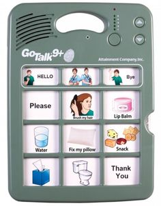 A new GoTalk with five times extra touch sensitivity! This device can be activated with a gentle pinky finger.