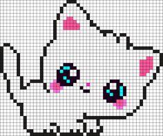 Bügelperlen Vorlage - Weißes Anime Kätzchen