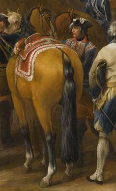 Fig.7: Pierre Lenfant, Siège de Tournai et de ses citadelles, 14 mai 1745 (détail) 3° quart du 18°s, huile sur toile. Versailles. L'homme derrière le cheval porte un justaucorps de grande livrée. Un certain nombre d'officiers de la Maison civile du Roi en grande livrée accompagnent le roi lors de ses campagnes militaires. Par ailleurs, certains officiers de la Maison militaire du Roi (compagnie des Cent-Suisses et musiciens, notamment), sont habillés de livrées par la Maison civile et…
