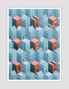 Isometric Amsterdam - A poster with a pattern based on Amsterdam canal houses in isometric perspective Isometric / font / type / typography / Amsterdam / 3D / pattern
