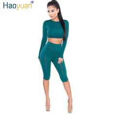 ef25be2b4 2 Piece Set Women Sexy Long Sleeve Top And Shorts Track Suit 2018 Autumn  Bodycon Tracksuit Clothing Casual Two Pieces Outfits-in Women's Sets from  Women's ...