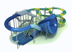 coastersaroundtheworld:  Wild Surf digital model to be built at Las Vegas' new proposed waterpark called Cowabunga Bay. The slide tower will feature two family raft attractions where one will send riders into a first-of-its-kind half tornado style funnel.