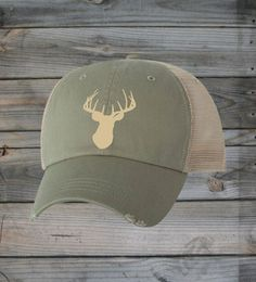 FRONT VIEW - Country Girl ® Ivory Camo Deer Head Trucker Hat  #CountryGirl #CountryMusic #CountryLife