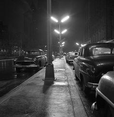 """Cars Under Streetlights"" - Lower Manhattan - April, 1958 - photographer Frank Oscar Larson."
