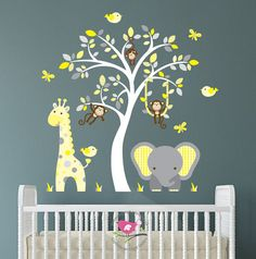 Jungle Decal Yellow and Grey nursery decor by EnchantedInteriorsUK