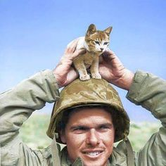 the_ww2_memoirs A US Marine belonging to the 5th Marine Division, shows off his new feline friend, a very young kitten, that he found at the base of Suribachi Yama (near Mount Suribachi), shortly after he landed on Iwo Jima in March, 1945. He landed on the island as the fighting was dying down and the mopping up began. Those who remained were engineers, Corpsmen, pilots, soldiers (guards and those still patrolling the island), and a few ships. Gear and bodies still littered the island as…