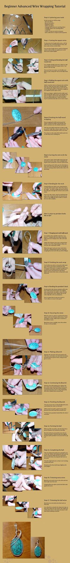 Wire Wrapped Turquoise PendantFree Diy Jewelry Projects | Learn how to make jewelry - beads.us #diyjewelry