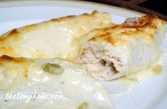 Chicken Enchiladas with Green Chili Sour Cream Sauce » Recipes, Food and Cooking  #chickenenchiladas #mexicanrecipes