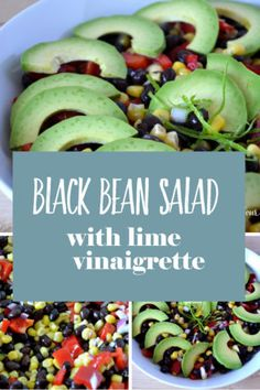 Black Bean Salad Healthy Dessert Options, Healthy Dinner Recipes, Healthy Snacks, Healthy Eating, Lunch Recipes, Salad Recipes, Vegan Recipes, Clean Eating, Healthy Side Dishes