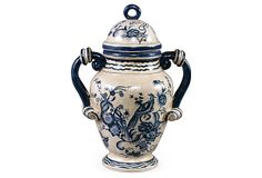 "17"" Blue & White Bird Jar on OneKingsLane.com | 12""w x 8""d x 17""h | 100.00 retail | 50.00 OKL"