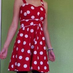 Red Polka Dotted Dress- Teens Sewing Patterns - free sewing patterns
