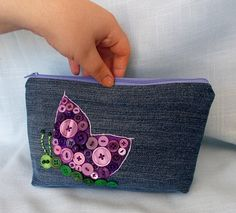 Small Upcycled Blue Jean Zipper Bag with Button Art Butterfly Bag Butterfly Bags, Purple Butterfly, Jean Crafts, Denim Crafts, Handbag Tutorial, Bow Bag, Diy Purse, Pencil Bags, Bag Patterns To Sew