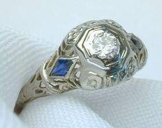 Vintage Diamond Sapphire Ring. $650.00, via Etsy.