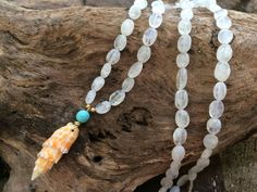 Long Moonstone Miter Shell Necklace by FlatteryDesigns on Etsy