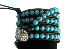 CatMar Beaded Turquoise Wrist Wrap Bracelet by CatMarCreations, $128.00