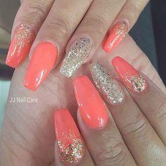 Coral and gold glitter nails coral nails glitter, coral acrylic nails, pe. Coral Nails Glitter, Coral Acrylic Nails, Coral Nail Art, Coral Nails With Design, Peach Nails, Orange Nails, Gold Nails, Glitter Makeup, Coral Nail Designs