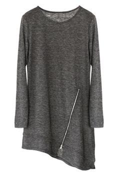 ROMWE   Ablique Hem Zippered Grey Dress, The Latest Street Fashion