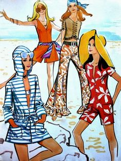 Vintage Illustrations: Beach Fashion - Mode am Strand, Günther Moden May 1970
