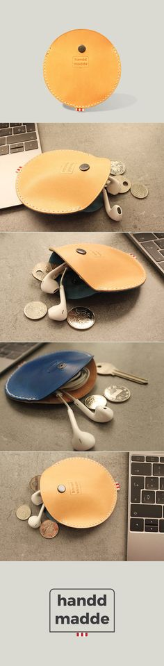 handdmade circle coin pouch - blue & natural premium cowhide leather - €25 - worldwide free shipping
