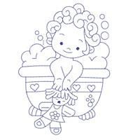 Bluework Bath Time Babies (5x5) - Embroidery Delight | OregonPatchWorks