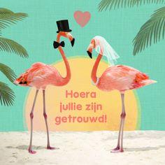 Wat een hippe, vrolijke en zomerse huwelijksfelicitatie kaart stuur je met dit romantische flamingo koppel op een tropisch strand en ondergaande zon. Design: Petit Konijn. Te vinden op: www.kaartje2go.nl