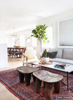 Boho Home Tour. Sleek living room.