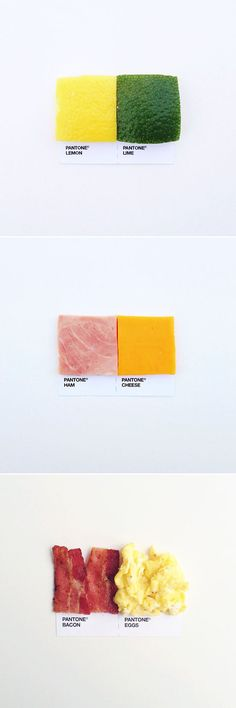pantone pairings: lemon & lime, ham & cheese, bacon & eggs