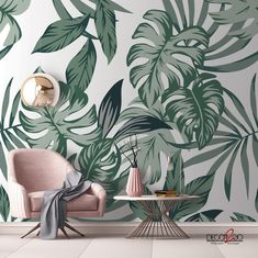 Our Big Green Leaves custom mural is ideal to be placed in any room of your house to add a fresh, natural style. Amazing Greens, Hand Painted Walls, Bedroom Green, Room Wallpaper, Fresh Green, Bedroom Inspo, New Room, Palms, Green Leaves