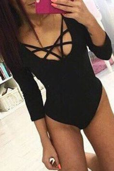 SHARE & Get it FREE | Sexy Long Sleeve U Neck Low-Cut Criss-Cross Solid Color Bodysuit For WomenFor Fashion Lovers only:80,000+ Items • New Arrivals Daily • Affordable Casual to Chic for Every Occasion Join Sammydress: Get YOUR $50 NOW!