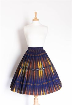 Size 8 Navy and Mustard African Cotton Skirt