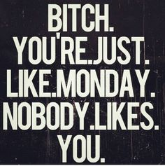 #bitch u'r just #like #monday #nobody likes u!