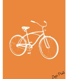 Nursery Art Orange Tricycles and Bicycle set of 3 by ZeppiPrints