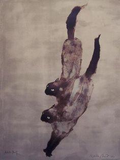 "calyx,gatoseoutrosbichos:        (via Kaiko Moti: ""Two Cats"" Original Pencil-Signed AP, 1964 (item #653738, detailed views))"