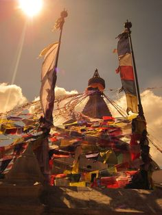 At PR we're celebrating National Yoga Month by sharing some of our own yoga stories. Photo: Boudhanath Stupa, one of the largest Buddhist stupas in the world. Kathmandu, Nepal, October Photo by Sara Lingafelter. Voyage Nepal, Places To Travel, Places To Visit, Travel Destinations, Monte Everest, Buddhist Shrine, Temples, Nepal Kathmandu, Prayer Flags