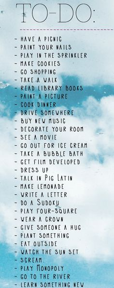 A summer to-do list