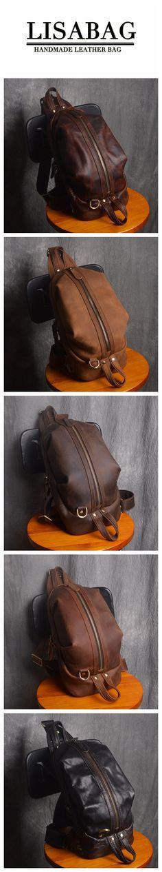 Handmade Men's Full Grain Leather Chest Bag Sling Shoulder Bag Messenger Bag Men's Fashion Bag NP01