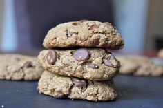 Soft cookies packed w/ almond butter and chocolate chips! GF, vegan, paleo, refined sugar-free!
