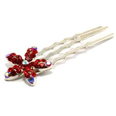 Crystal Flower Mini-comb (red) -- Visit the image link more details.