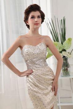 Sweetheart With Full Of Beading Decoration Short Length Elastic Satin Bridesmaid Dress